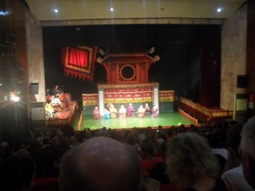water Puppet theatre. These are the puppeters not the actual puppets