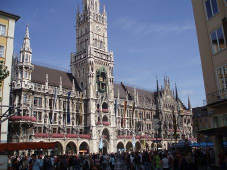 Munich town hall and the Glockenspiel clock tower