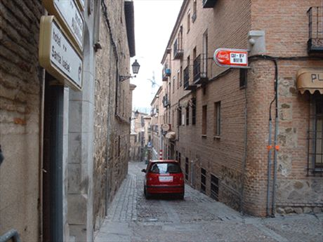 Tiny Spanish streets!  Both cars and pedestrians share these little roads.