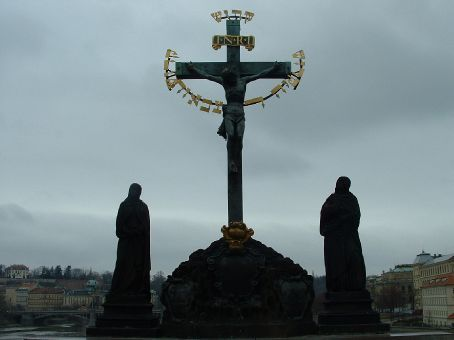 One of the many statues lining the Charles Bridge.