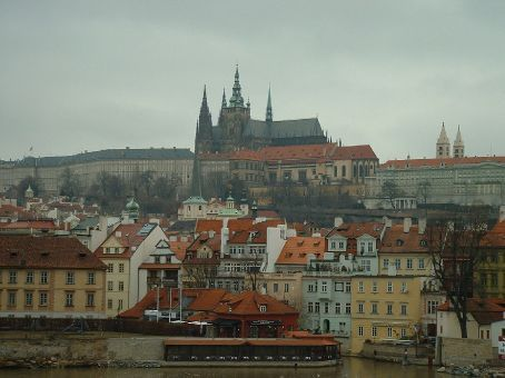 View of Prague's Cathedral from the bridge.
