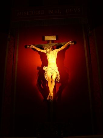 Picture of the Crucifix.  The red heart shaped lighted only showed up in our picture.