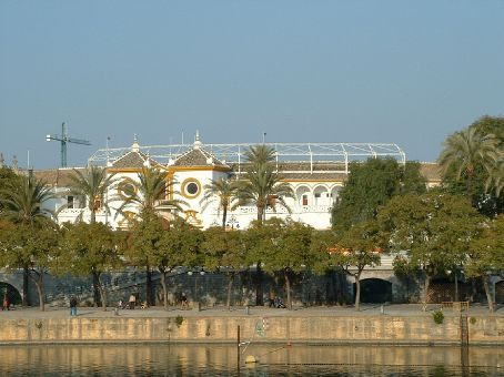 View of the bull ring from the across the river