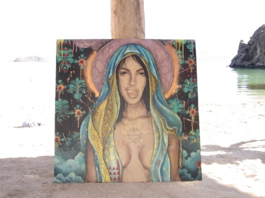 Slightly controversial rendition of the Virgin Mary enjoying the beach at El Burro.