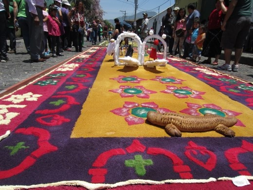 Beautiful example  the carpets that mark the procession route.