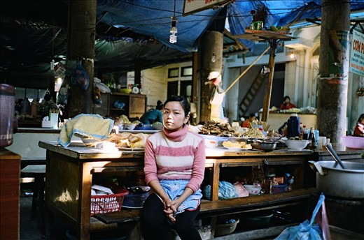 Girl working in the food market at sapa, north of vietnam.