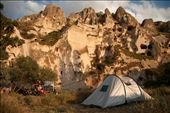 AT HOME – Camping beneath the perforated cliffs of the Cappadocian terrain. For centuries, the local people carved out homes in the soft tufa rock.: by solonaut, Views[274]