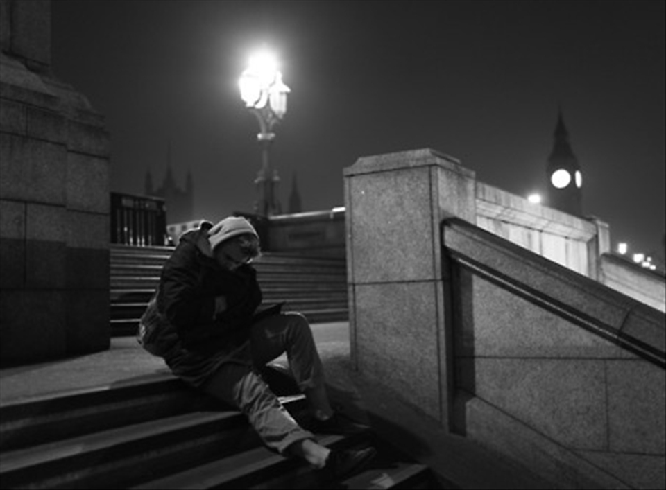 Loneliness can be anywhere, a lonely walk through the streets of London. 2011