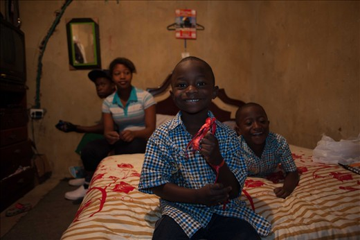 Introducing Yhuliam, getting ready to open his Christmas present.