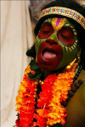 The man dressed up as lord Hanuman, a source of entertainement for everyone.: by soumyajit0901, Views[147]