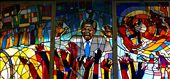 A leadlight window in Regina Mundi Church, depicts the strong support for Nelson Mandela by his people.: by southafrican, Views[340]