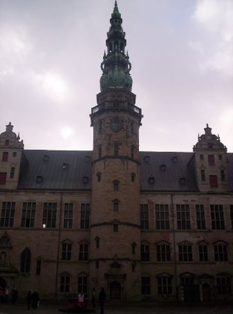 central tower of the castle from inside the courtyard (im laid on the floor to fit it all in)