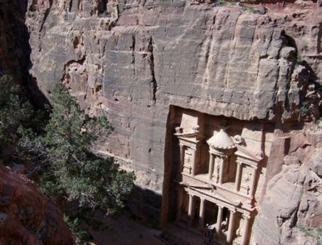 The Treasury from the wilderness above. I more or less took a nap and then watched the shadow move across the monument.   The best part of this is clearly the way the tomb is carved within such a sharp but slightly-assymetrical rectangular box in the cliff face.