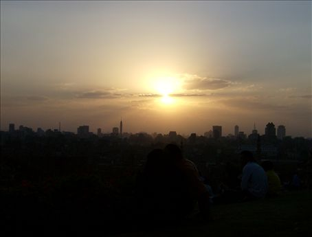 Cairo sunset, from Al-Azhar Park. The silhouette of the Pyramids was visible behind the skyline.