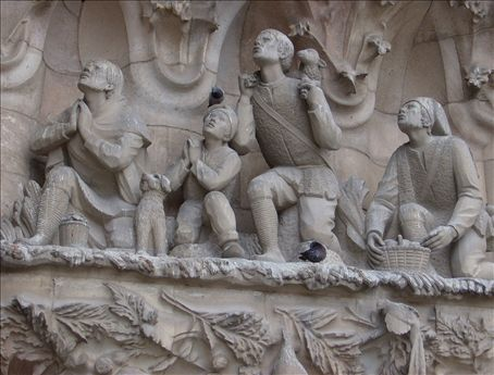 Pigeons and beggars, or admirers, or pray-ers, not sure. Sagrada Familia.
