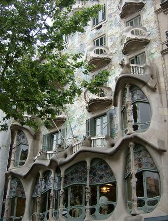 Casa Batllo, by Gaudi, on Passeig de Gracia, Barcelona. It cost 16 euros to enter, so naturally I just gawked at it.