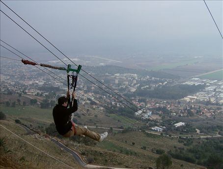 Zip-lining. Lebanon is behind us, Kiryat Shmoneh is in front. I chose to hold the lotus position as I descended the Manara Cliffs.