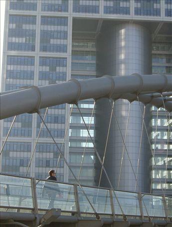 Pedestrian bridge meets Ministry of Defense.