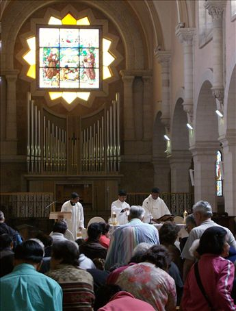 Bethlehem, early afternoon mass led by an Indian minister at St. Catherine's? This is where the Midnight Mass on Christmas Eve is broadcast to all over the world every year.