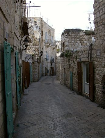 Empty street in Bethlehem. Tourism is confined to Manger Square, or wherever the tour buses let the pilgrims off (read: not here).