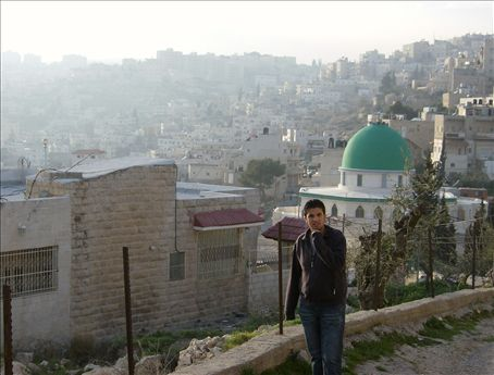 Anan and the Mosque of Tariq Ibn Ziyyad, Bethlehem. The jungle green color was mesmerizing. Love to see that every day when I walk out the door.