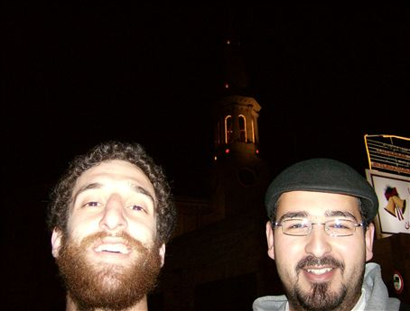 My beard looks pretty ridiculous, or sweet, depending on your perspective. With Hamza, in front of the Lutheran Church, in Bethlehem.