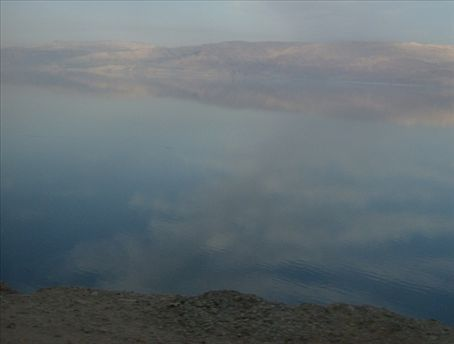 The Salt Sea, also known as the Dead Sea. From the Israeli side, looking at the Jordanian Hills.