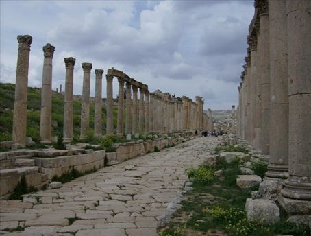 Jerash Colonnade. One of the cities of the Roman Decapolis in Greater Palestine.