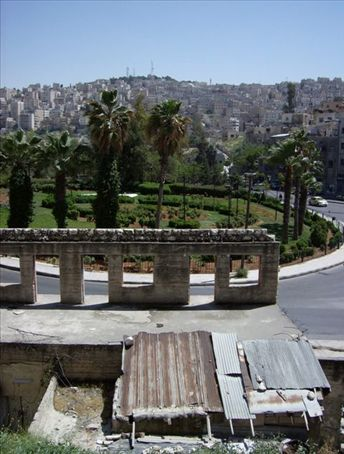 Hilly Amman, from a Cirith Ungol-like stairwell, if you get the Lord of the Rings reference.