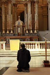 Praying..In a small church a man on his knees prays for forgiveness.: by stacysimmering, Views[909]