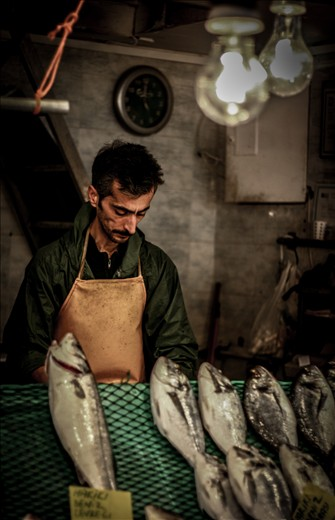This is a photo that I took during one of my travels in Istanbul, Turkey. The man starts to clean the fishes to the costumers starting from early morning till late evening, and this hard life reflected on his attitude in a serious way.