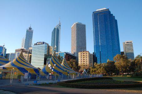 Perth skyline and the Cirque du Soleil