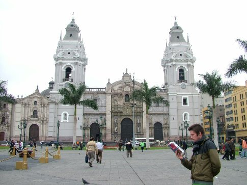 Dave being the ultimate tourist.  Plaza de Armas