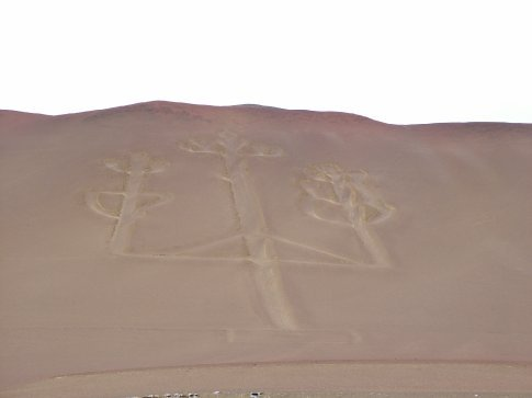 Ancient sand drawing, called the Candelabara. Paracas