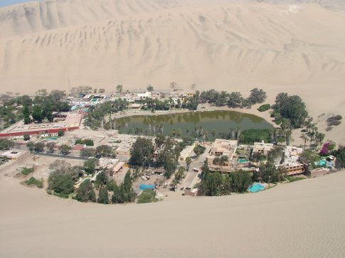 Huacachina oasis resort from the top of the big dune that Dave climbed.  Mad bastard.
