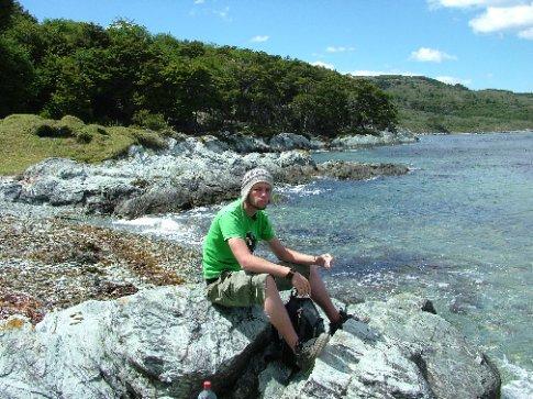 Dave eating.  Tierra del Fuego.