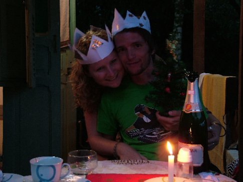 Us in our beautiful home made Christmas hats.