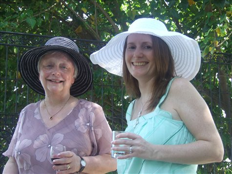 Joan and Janette in the hat competition.
