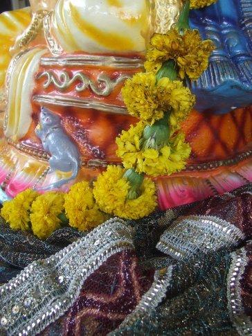A close up of a Ganesh staue.