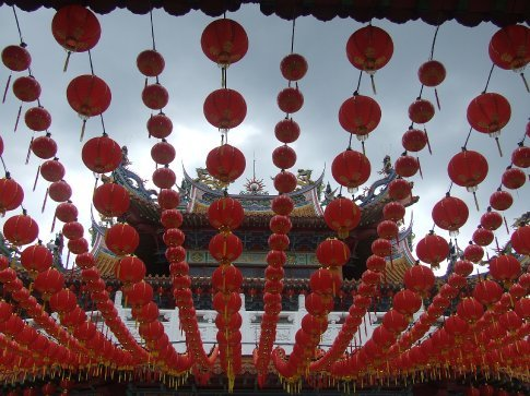Thean Hou Temple in KL decorated for Chinese New Year.