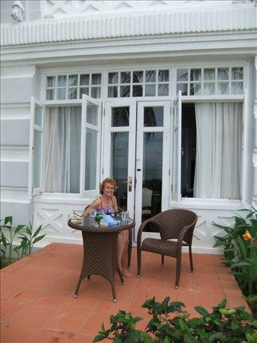 Emma at our garden terrace.