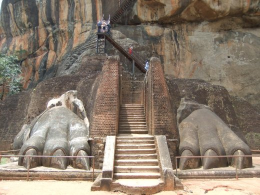 The lions feet at the start of the dodgy staircase up Sigiriya.