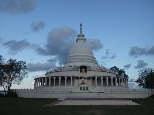 Storm brewing over the Japanese peace Pagoda in Ampara as we waited for wild elephants.