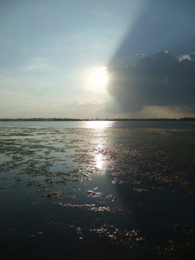 Sunset over Pottuvil Lagoon.