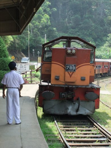 Train approaching Ohiya station after our trek down from Horton Plains.