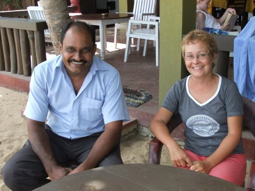 Our fantastic driver Sam with Emma at Tangalle.