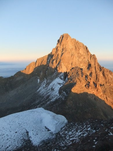 Sunrise over the main  peak as viewed from Point Lenana.
