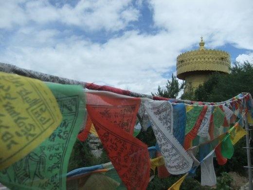 Prayer flags at the temple in Shangri-la.