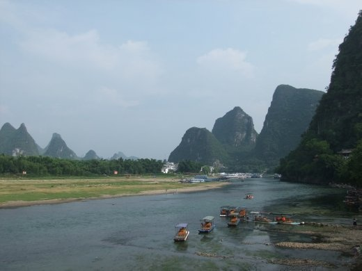 A view of the Li River from our Riverview Hotel balcony in Yangshou.