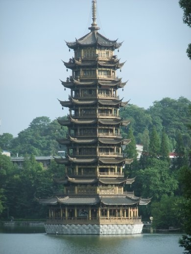 The haze lifted just long enough to see the Pagoda in Guilin.